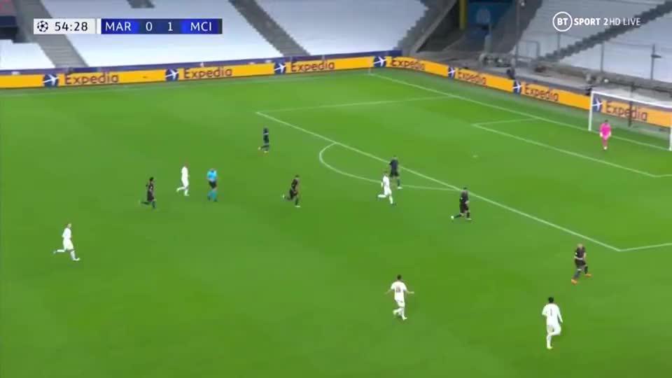 欧冠-德布劳内献两助斯特林传射 曼城3-0客胜马赛