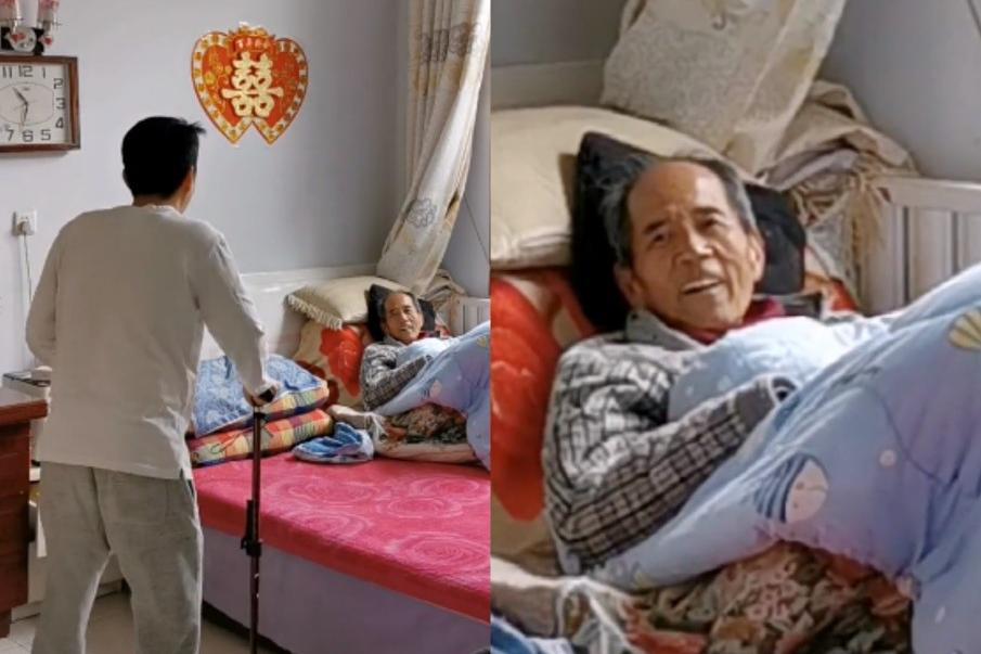 演员李嘉明给卧床父亲送拐杖,模仿其走路姿势,曝光老家朴素平房