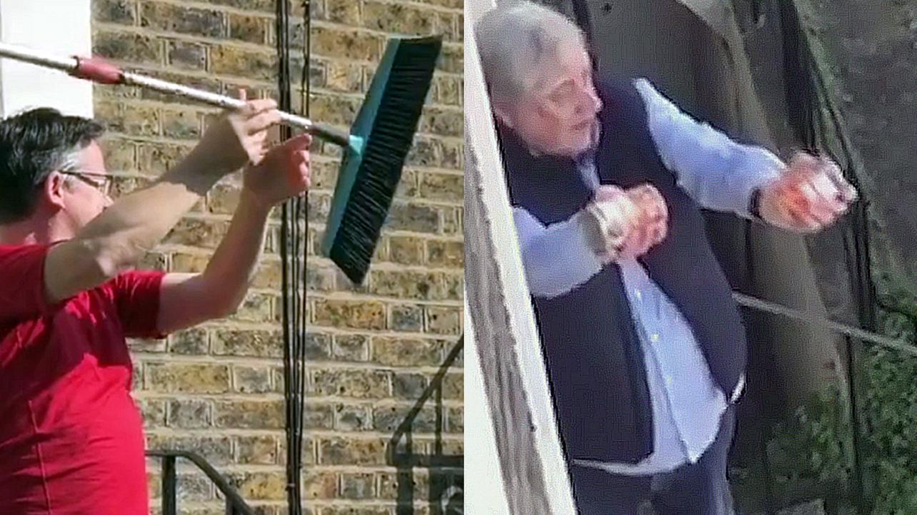 """实拍英国居民街头练""""广播体操"""" 转扫把举罐子 有时还要抖一抖"""