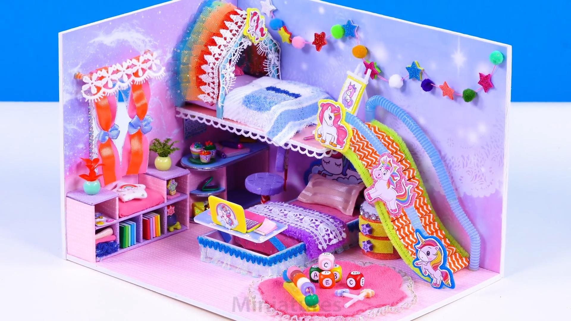 DIY迷你娃娃屋,卡通独角兽的儿童房间