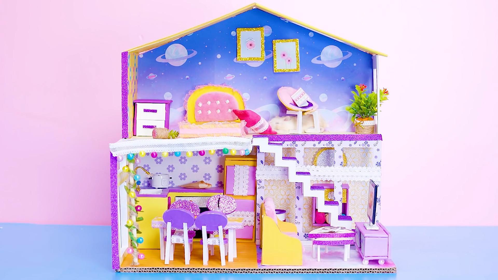 DIY迷你娃娃屋,星空下的双层小别墅