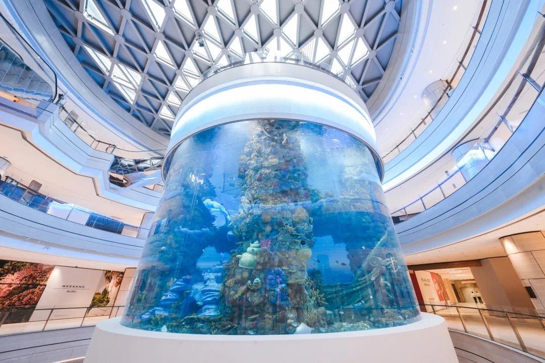亚洲购物中心室内zui大360°全景环绕柱状海洋馆亮相重庆
