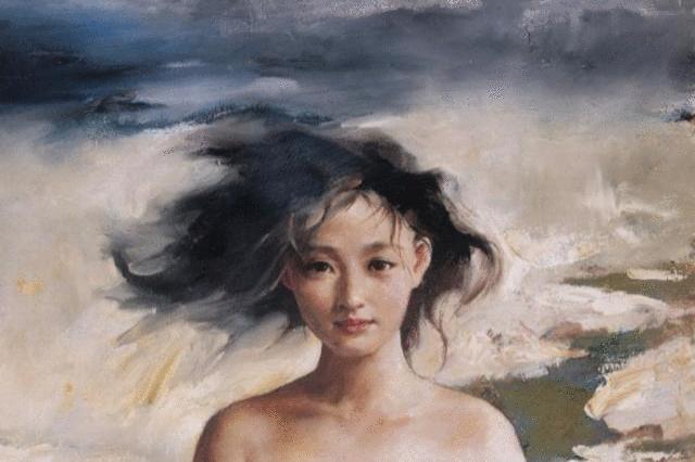 艺术家人体油画中的大明星周迅,如此青春靓丽