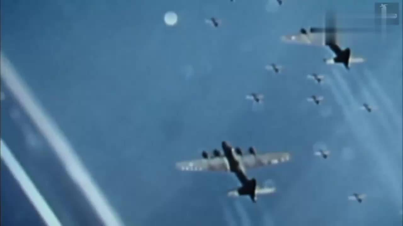 二战彩色录像 盟军大机群轰炸德国