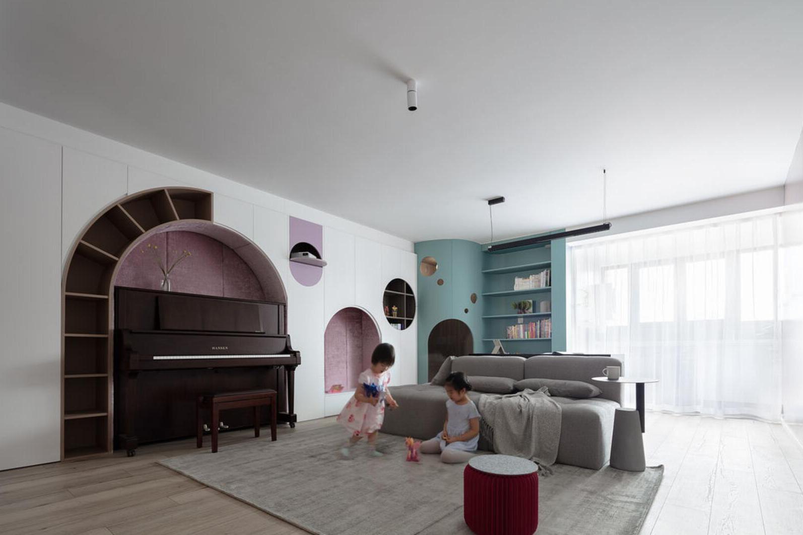 客厅做功能性设计,到底有多实用?看她160㎡新家,超有趣味性