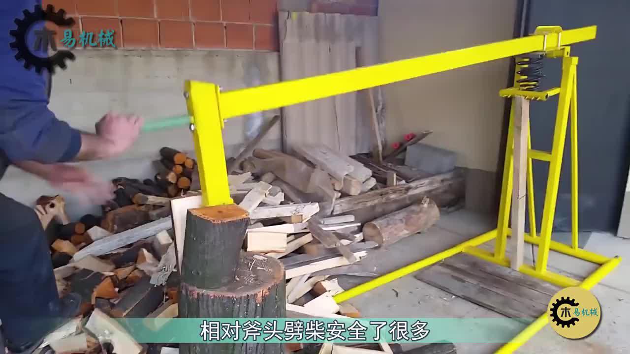 外国60岁大叔自制劈柴工具,一天能劈8吨木柴,200元造一台