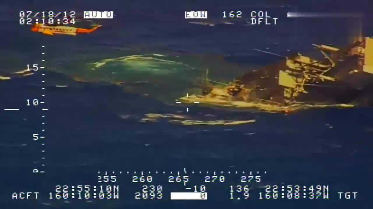 反潜机拍摄的加拿大潜艇击沉美国靶舰