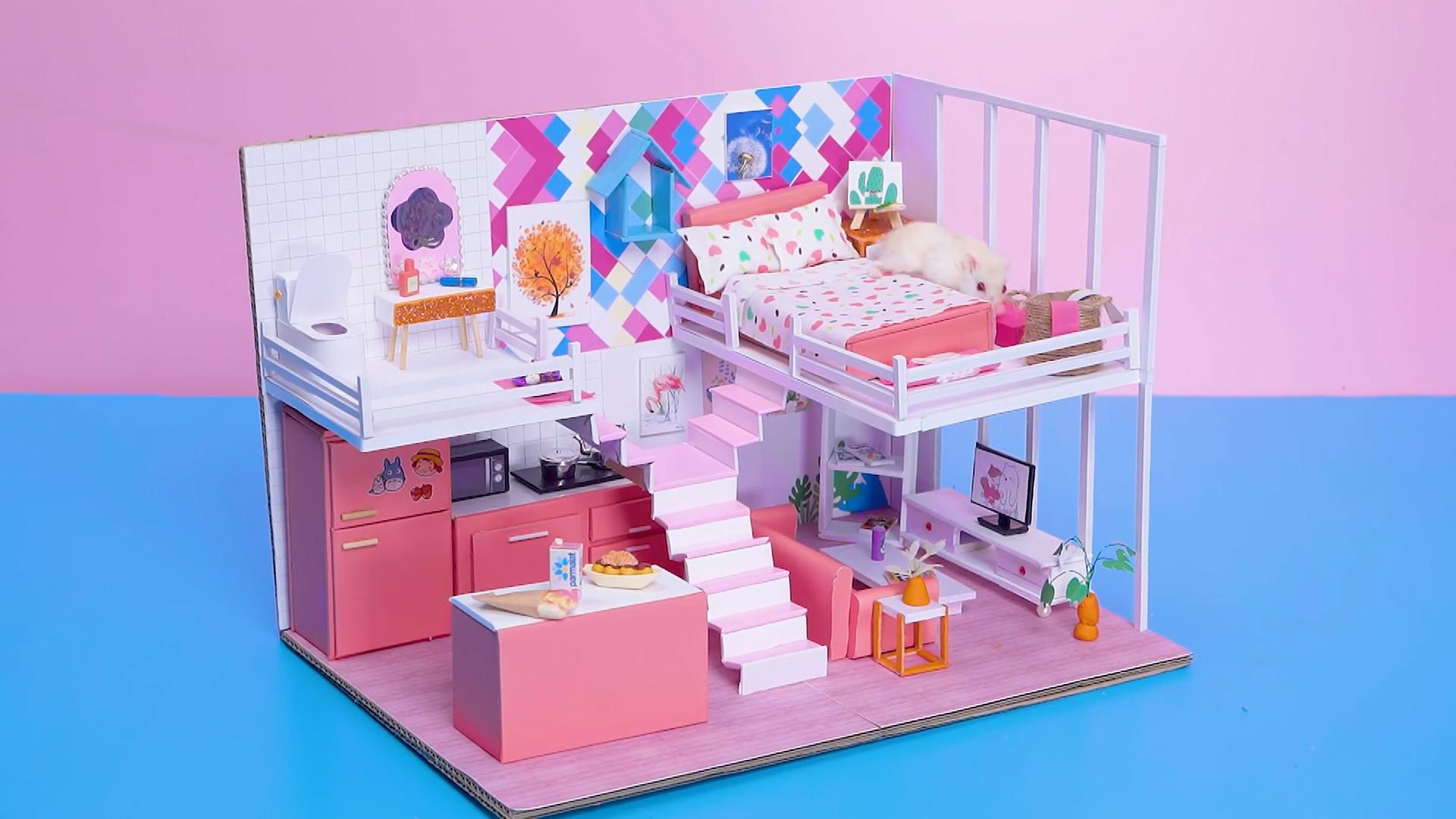 DIY迷你娃娃屋,小仓鼠的大大落地窗房间