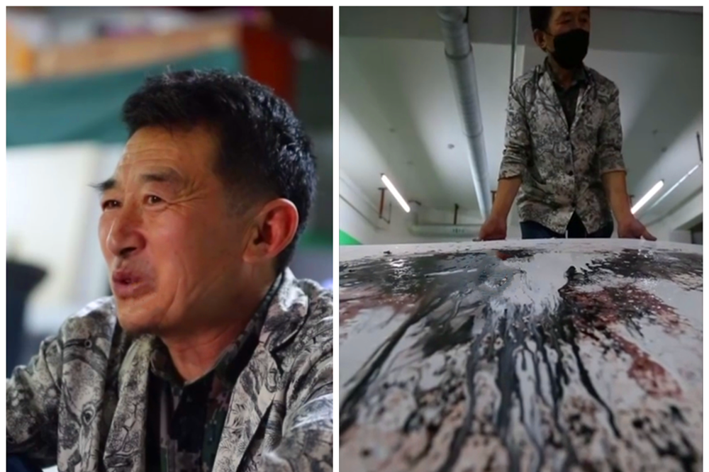 废品当颜料,扫帚当画笔,保洁员的国画作品参加了中央美院画展