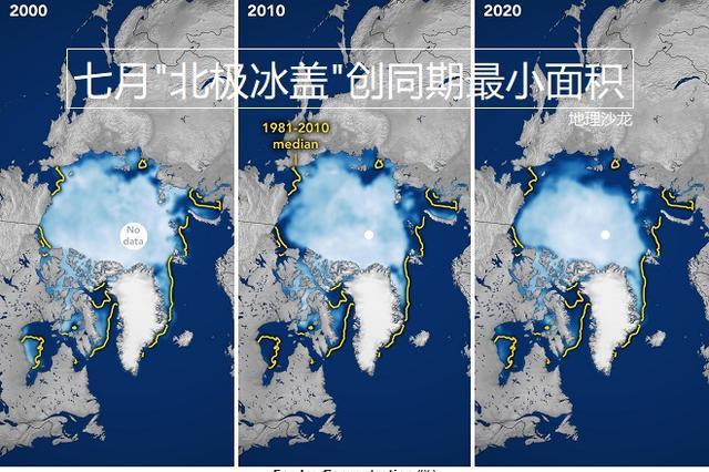 """今年七月覆盖北冰洋的""""北极冰盖"""",为有记录以来同期最小面积"""