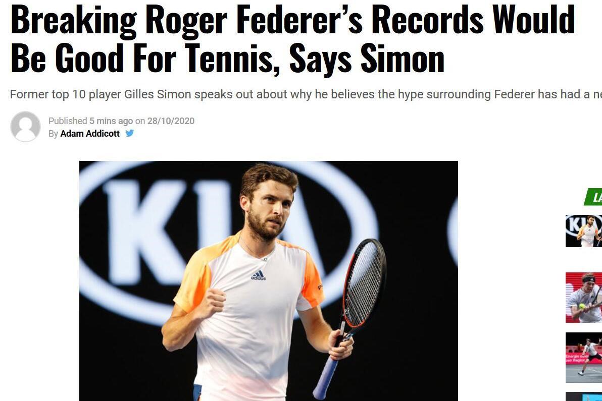 前世界第六:打破费德勒的纪录对网球有好处 夸张宣传有负面作用