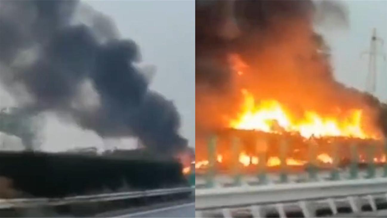 沪渝高速吴江段一大货车轮胎起火 数十分钟后整个车身引燃