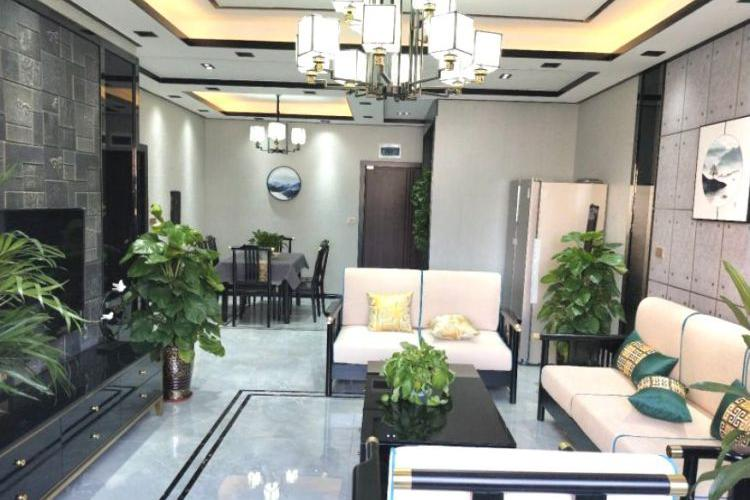 108㎡三居室新房,时尚优雅的新中式风格,两个卫生间都装蹲盆