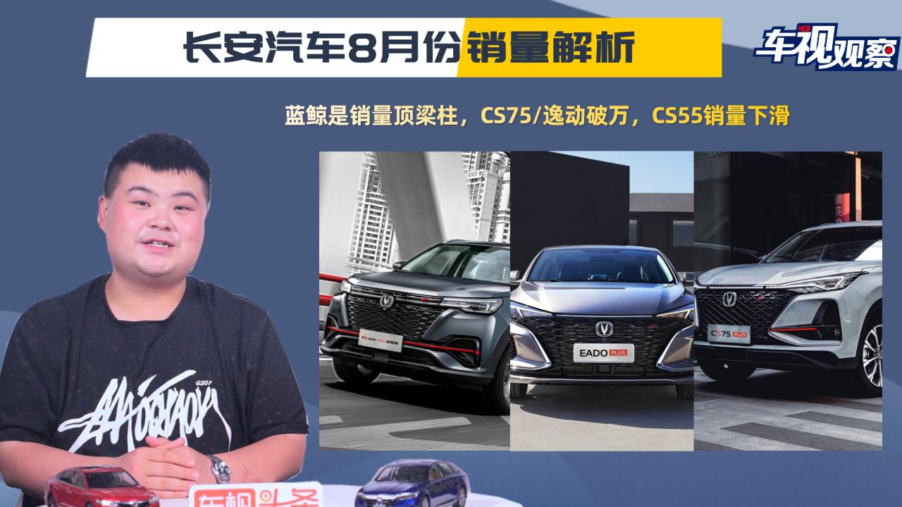视频:长安8月销量:蓝鲸家族销量最佳,CS75逸动破万/CS55销量下滑