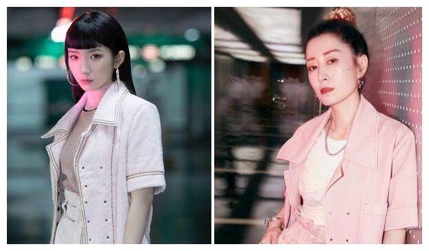 刘敏涛撞衫孟美岐,同穿粉色套装,网友:输了年龄却赢了气质