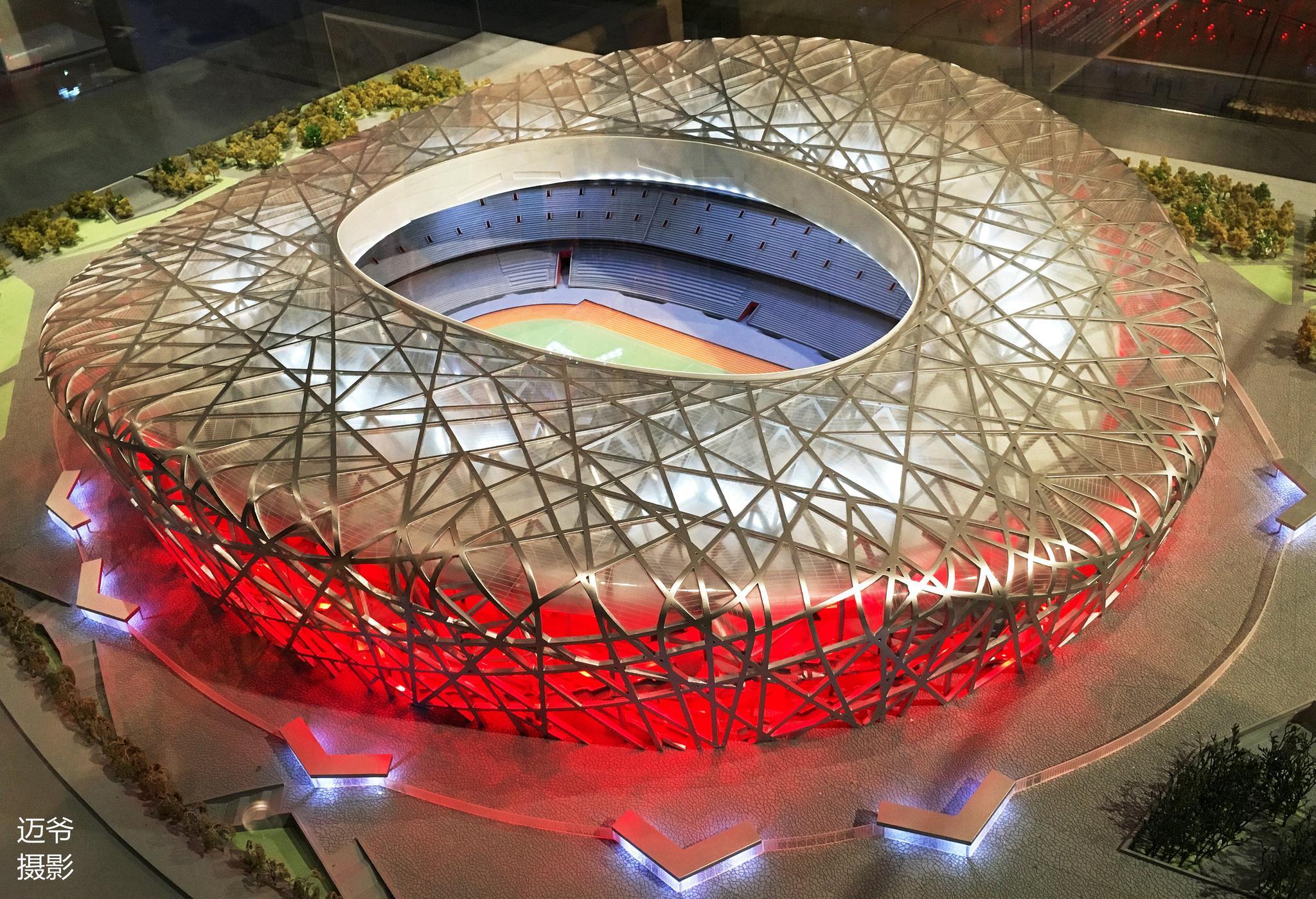 洛桑奥林匹克博物馆里的鸟巢模型