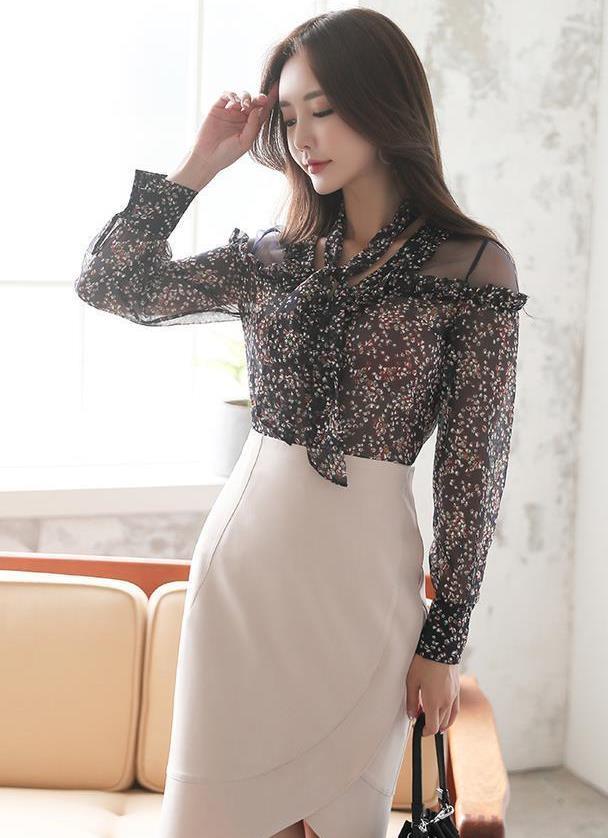 碎花雪纺衫配花苞裙,凸显女生优雅气质
