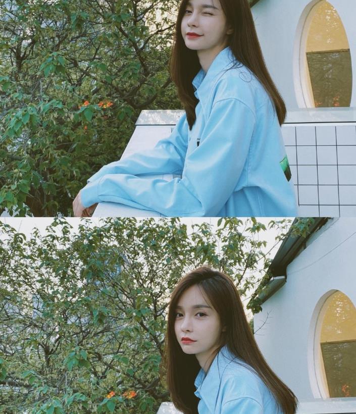 沈梦辰穿白T恤+衬衫拍照,帅气又时尚,就是有点像网店模特!