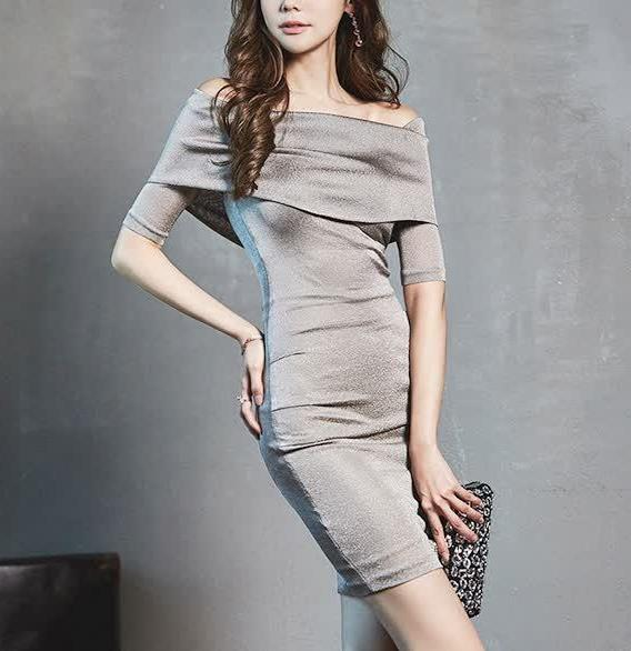 高级的银色一字领礼服,是你不容错过的美丽典范,梦幻时尚经典