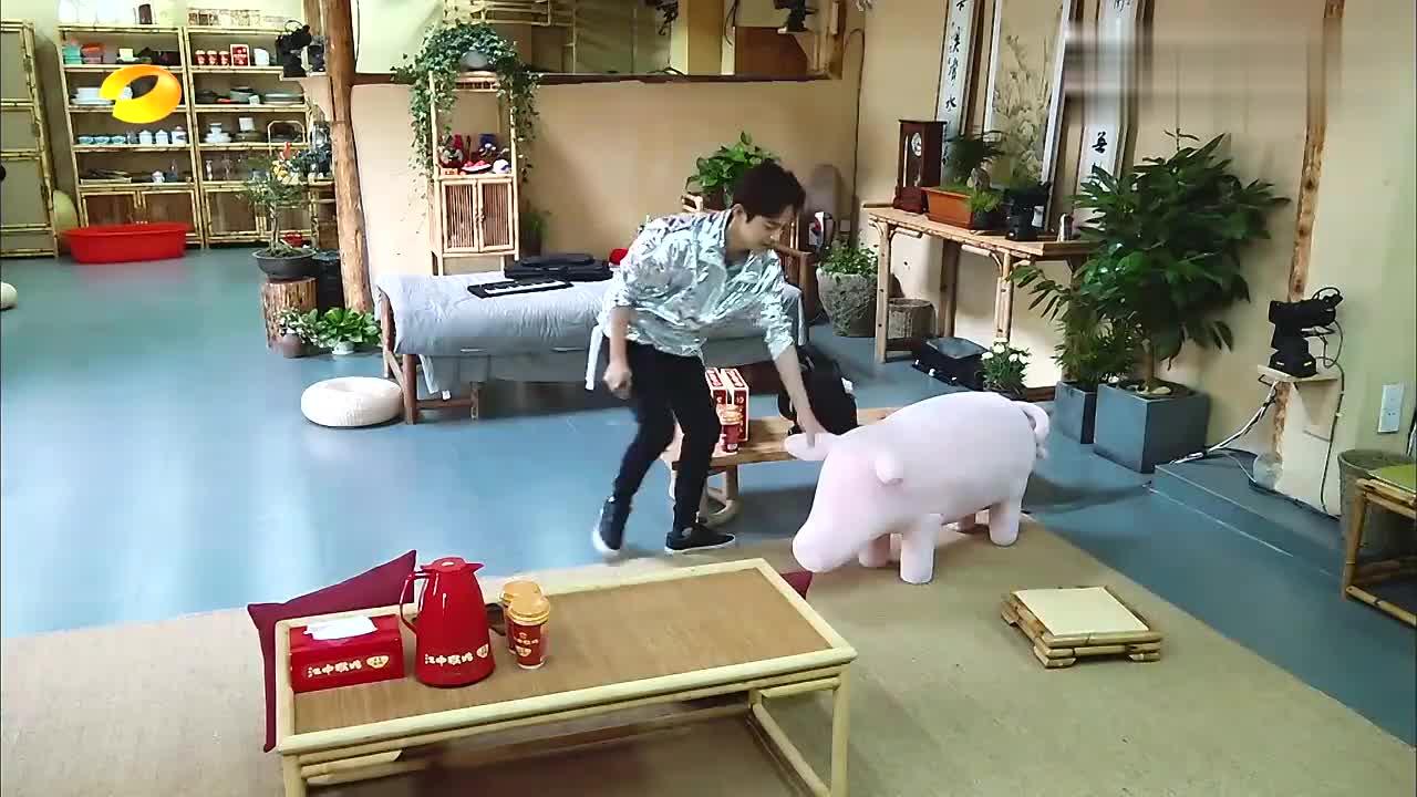 王珞丹带来玩偶猪,大华一抱就不撒手了,何炅:太治愈了