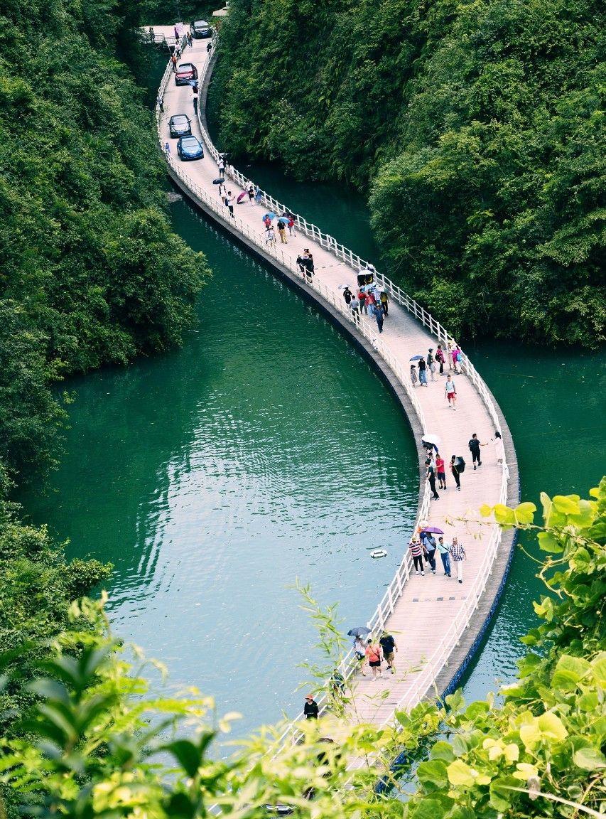 峡谷中的廊桥遗梦,网红浮桥水上飘