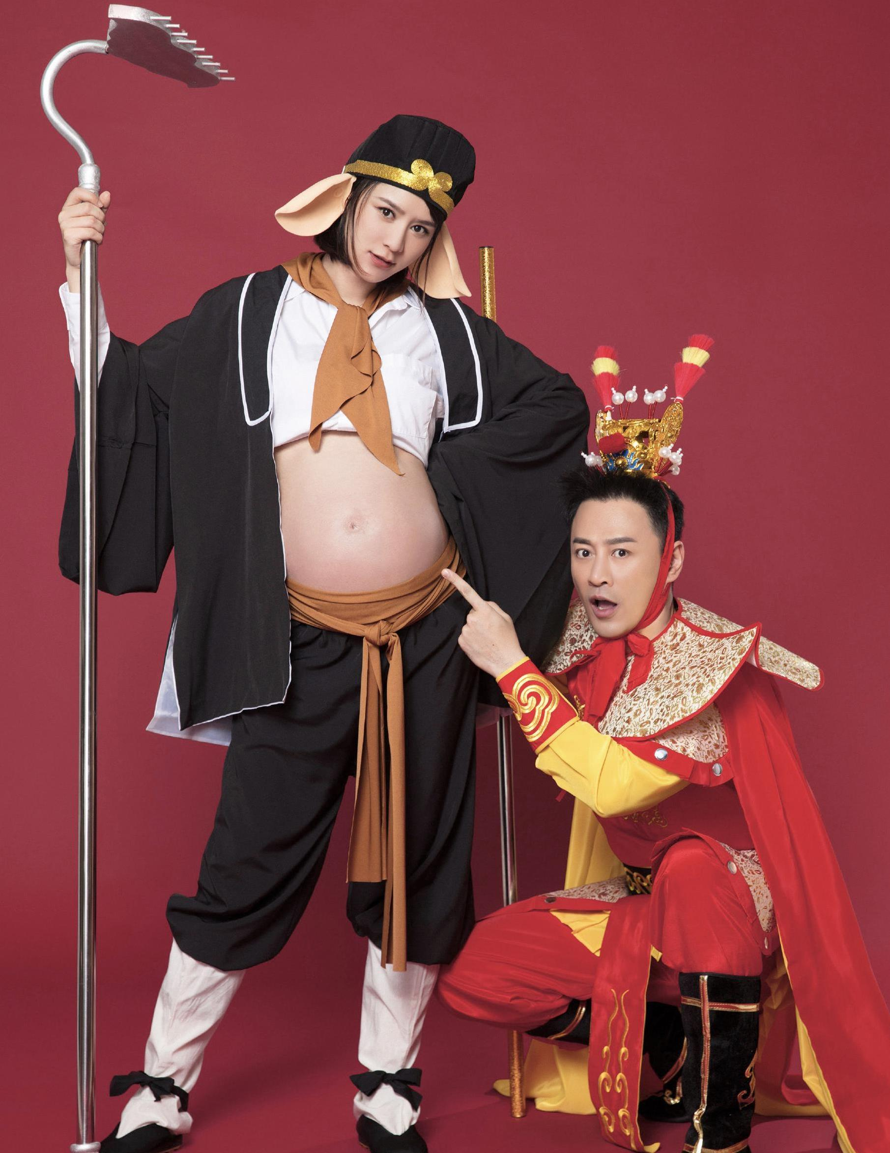 林峰发博喜得女儿,爱妻张馨月打扮成猪八戒,个性孕照太搞笑