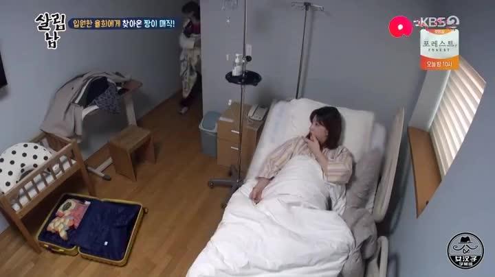 金律喜住院待产,妈妈带赞儿来看她,崔珉焕累到坐地上睡着