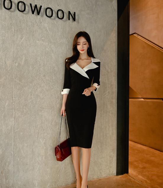 晴天美图孙允珠:萨克森黑玫瑰珍珠叠层职业裙