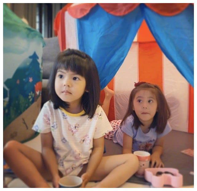 贾静雯晒俩女儿照片,小女儿波妞比姐姐还大只,俩娃颜值遗传太好