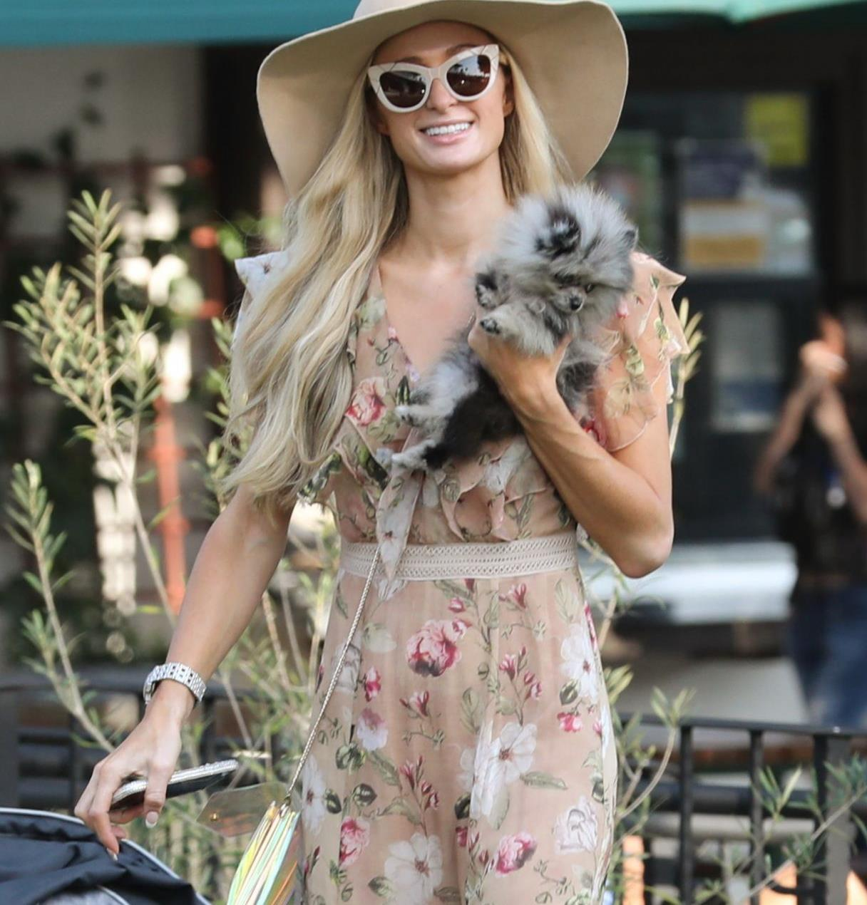 帕丽斯·希尔顿穿印花纱裙靓丽迷人,帽子墨镜休闲时尚风