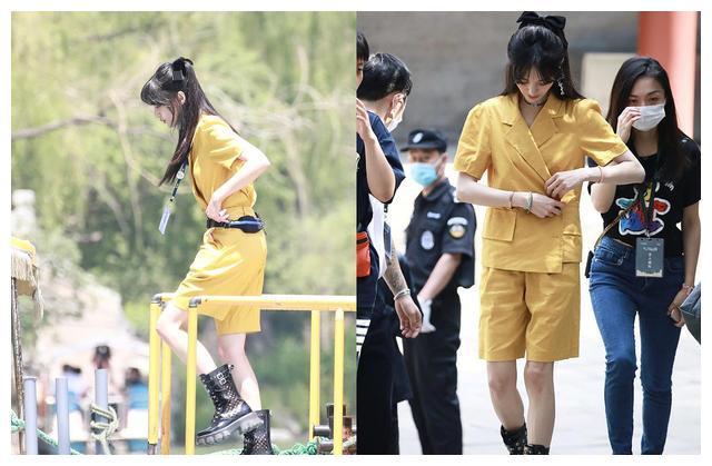 认真营业的郑爽太美,蓝色古装造型仙气满满,黄色工装裤又美又飒