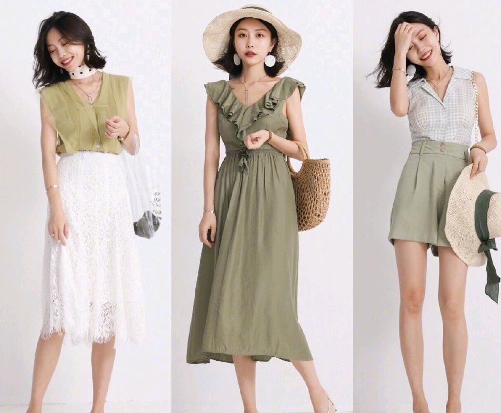 简约风穿搭示范,选择清新淡雅的配色,诠释女性的温柔