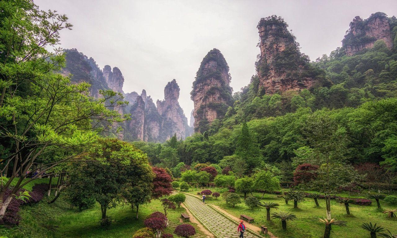 袁家界位于张家界国家森林公园北面,是一方山台地