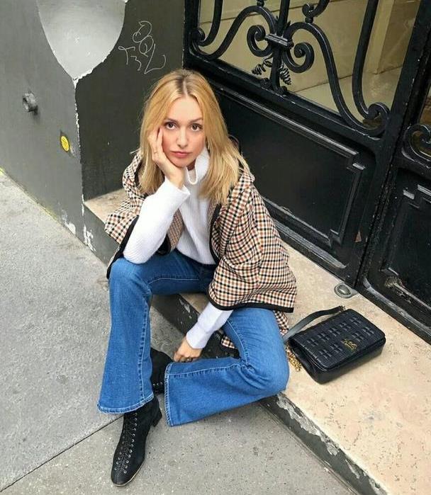 谁说秋季牛仔裤很普通?那是你不会穿,法式穿法复古简约又随性
