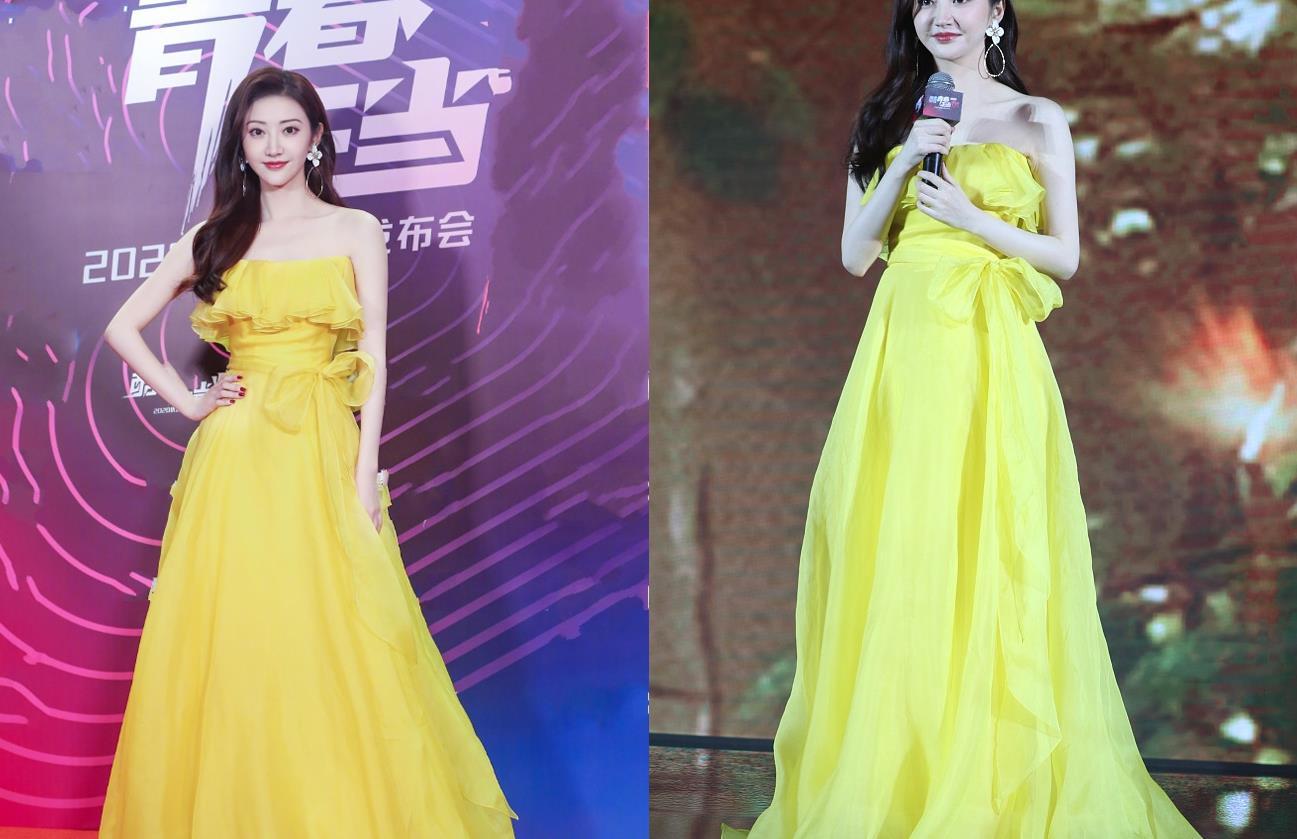 又被景甜的新造型美到了,身穿一袭黄色长纱裙,温婉优雅明艳动人
