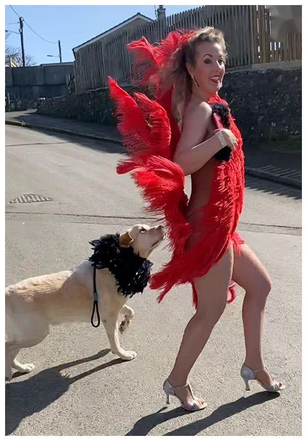 女子每天穿着奇装异服遛狗,狗子满脸冷漠:自己为铲屎的付出太多