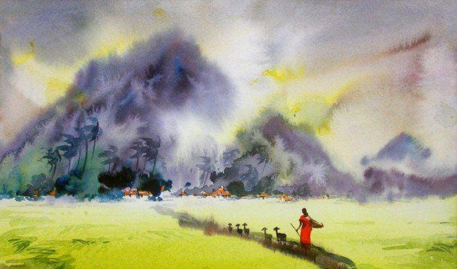 多彩田园,印度水彩画家Elayaraja风景画作品欣赏
