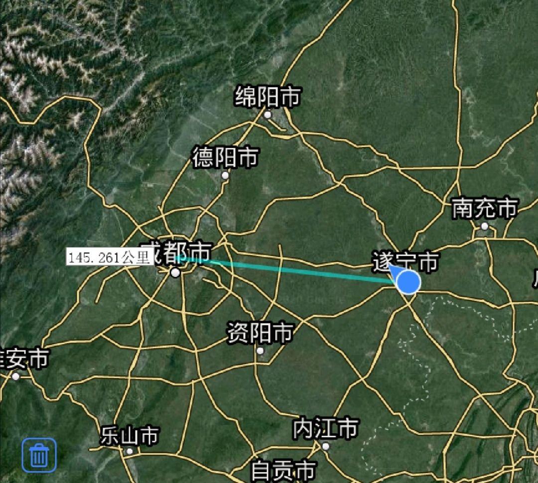 遂宁市各地至成都直线距离,大英县最近,蓬溪县最远