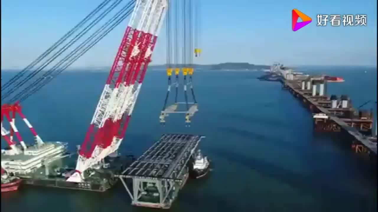 国之重器,中国最大海鸥号3600t起重船,架桥过程实拍