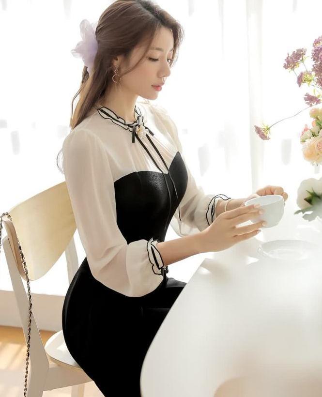 可爱蝴蝶结泡泡袖连衣裙,充满少女感性的可爱A字型迷你连衣裙