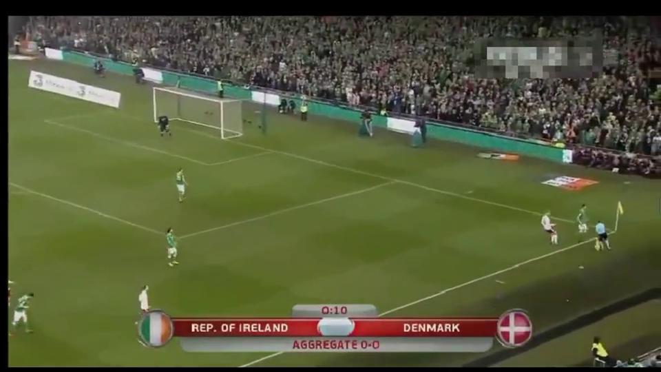 世界杯欧洲区预选赛爱尔兰队对阵丹麦队