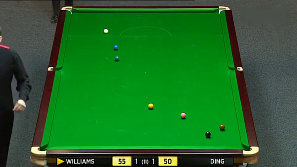 55比54的比分丁俊晖完成清台取胜,最后威廉姆斯气到爆粗口!