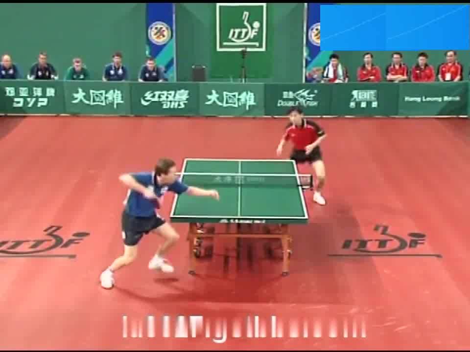 第届世乒赛男团决赛孔令辉-瓦尔德内尔(),老瓦好惨!