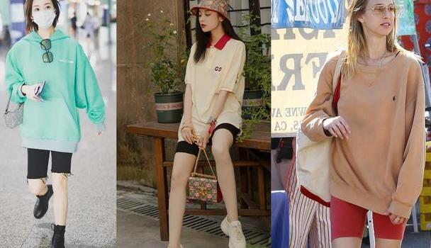 单车裤好红,咋穿才美?李纯娜扎张含韵有搭配心机,时尚帅气有型