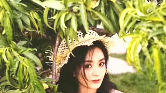 赵丽颖森系精灵大片, 藤编草帽,雏菊套装,绿意之中一抹清爽气