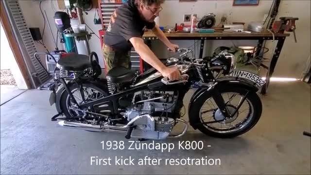 1938年的德国摩托车,发动机完好无损,座椅实在简陋