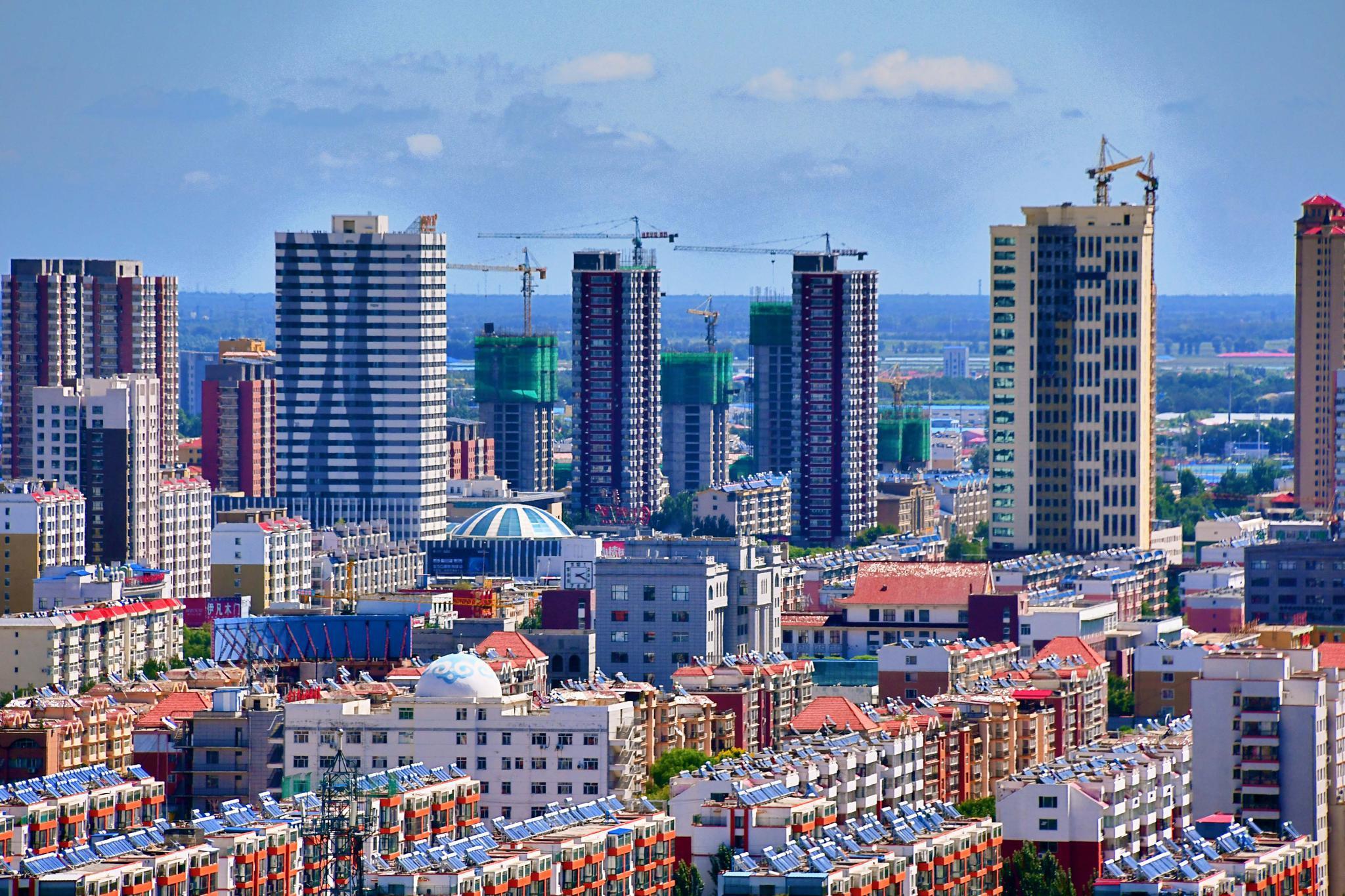 俯瞰通辽市楼群建筑,原创拍摄