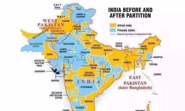 英国殖民印度期间,印度并不是统一的,而是有几百个国家
