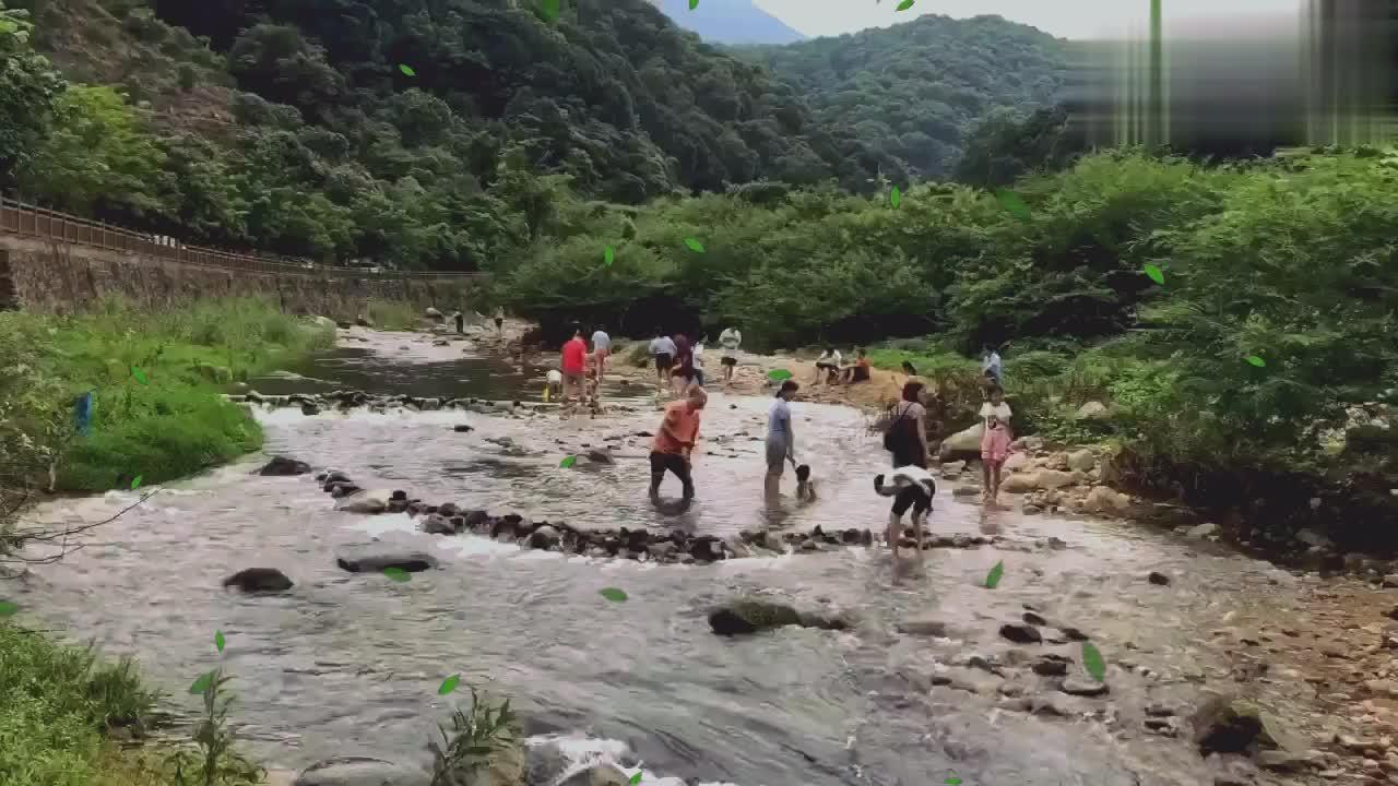 户外游惠州罗浮山酥醪景区找到适合烧烤的溪边,孩子玩得不想走