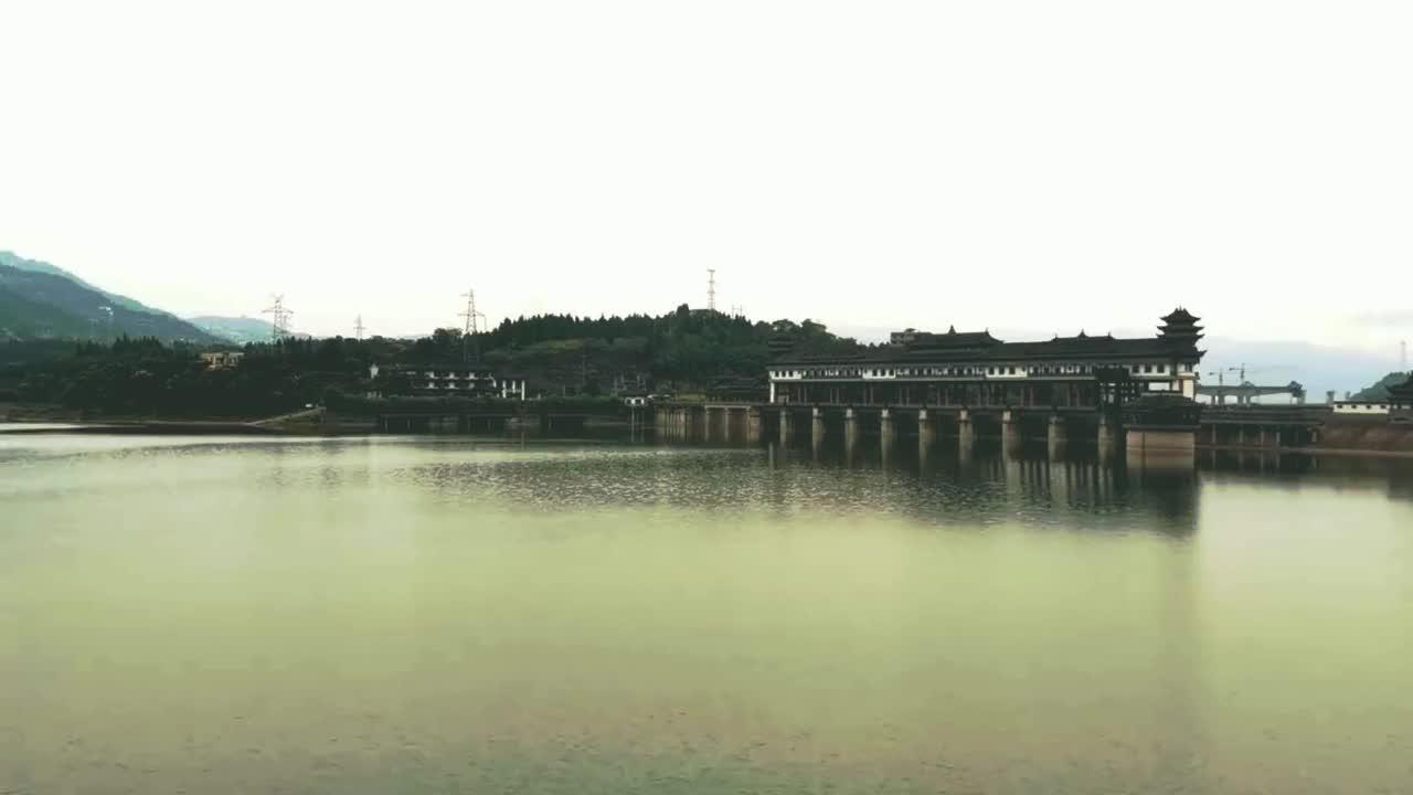 三峡水库坝中坝,国家级水利风景区,重庆开州水位调节坝风雨廊桥